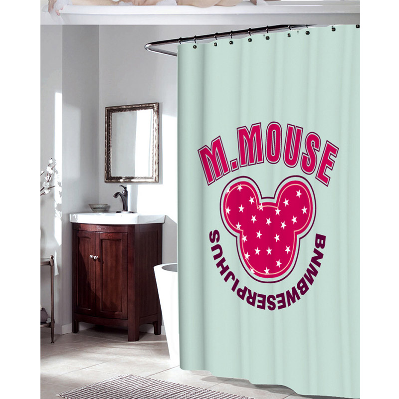 Bathroom Shower Curtains Mickey Mouse Multi Size Eco Friendly Waterproof Fabric Shower Curtain