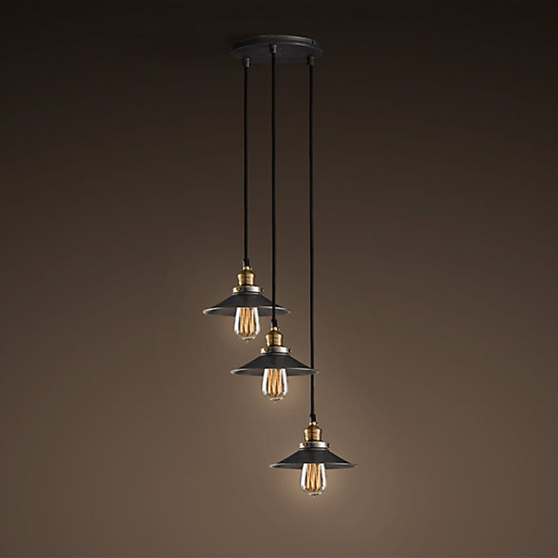 American Metal Black Skirt Bar Counter Pendant Lights American Loft industrial Dining Room Kitchen Pendant Lamp