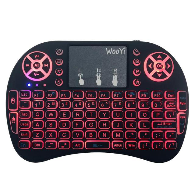 7 color backlit i8 Mini Wireless Keyboard 2.4ghz English Russian 3 colour Air Mouse with Touchpad Remote Control Android TV Box 1