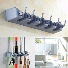 5 Position Mop Broom Holder Wall Mounted ABS Plastic Organizer Slots 6 Hooks Hanging Shovel