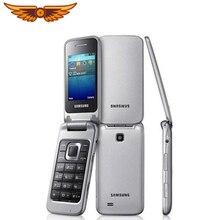 samsung C3595 разблокированный 3g WCDMA черный большие кнопки 2MP камера флип Восстановленный мобильный телефон с русским языком