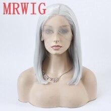 MRWIG bạc màu xám ngắn bob thẳng glueless phía trước ren tóc giả phần giữa 12in 150% mật độ tóc màu xám màu tóc giả