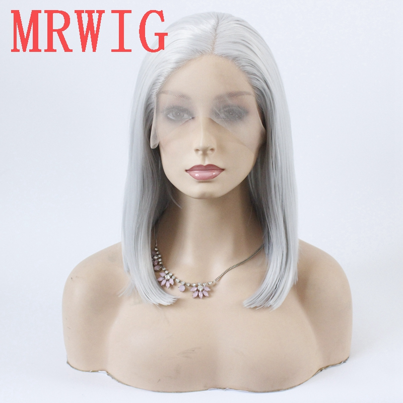 MRWIG silver gray short bob straight glueless front lace wig middle part 12in 150%density grey hair color wig-in Synthetic None-Lace  Wigs from Hair Extensions & Wigs