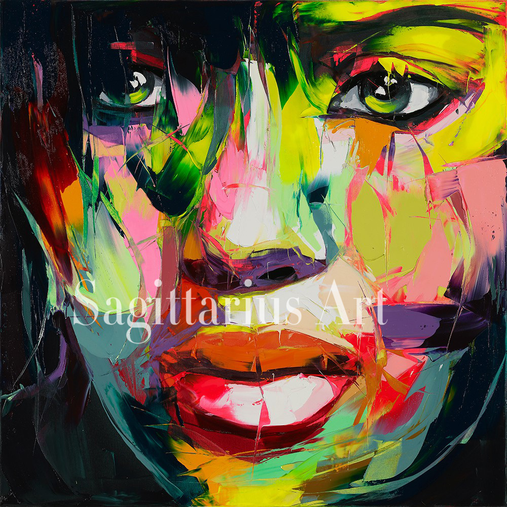 ᐂhand painted high quality designer francoise nielly cool face art