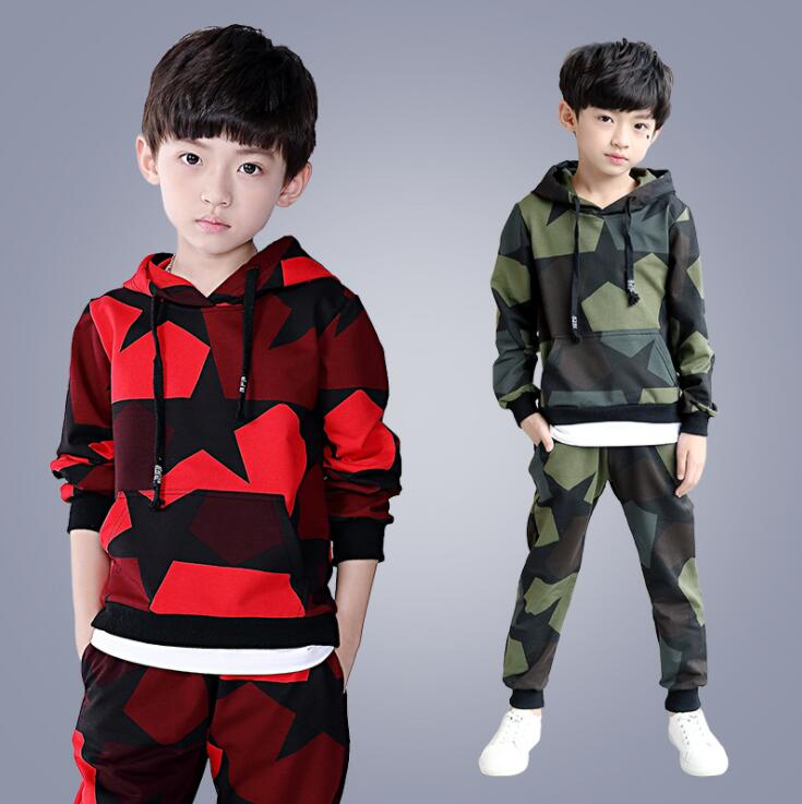 New Spring Autumn Children Clothing Set Cotton Kids Camouflage Outfits Hoodies & Pant Boys Clothes 3 4 5 6 7 8 9 10 11 12 Years spring outfits for kids