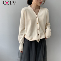 RZIV Spring casual sweater female solid color V neck long sleeved cardigan sweater