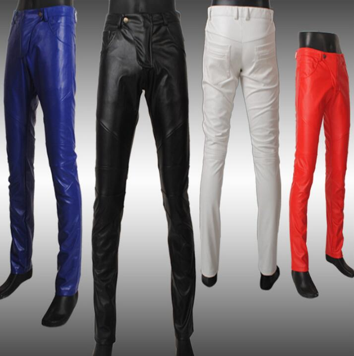 Autumn fashion motorcycle leather pants men skinny trousers tight pantalones hombre cargo pants for men pantalon black white red