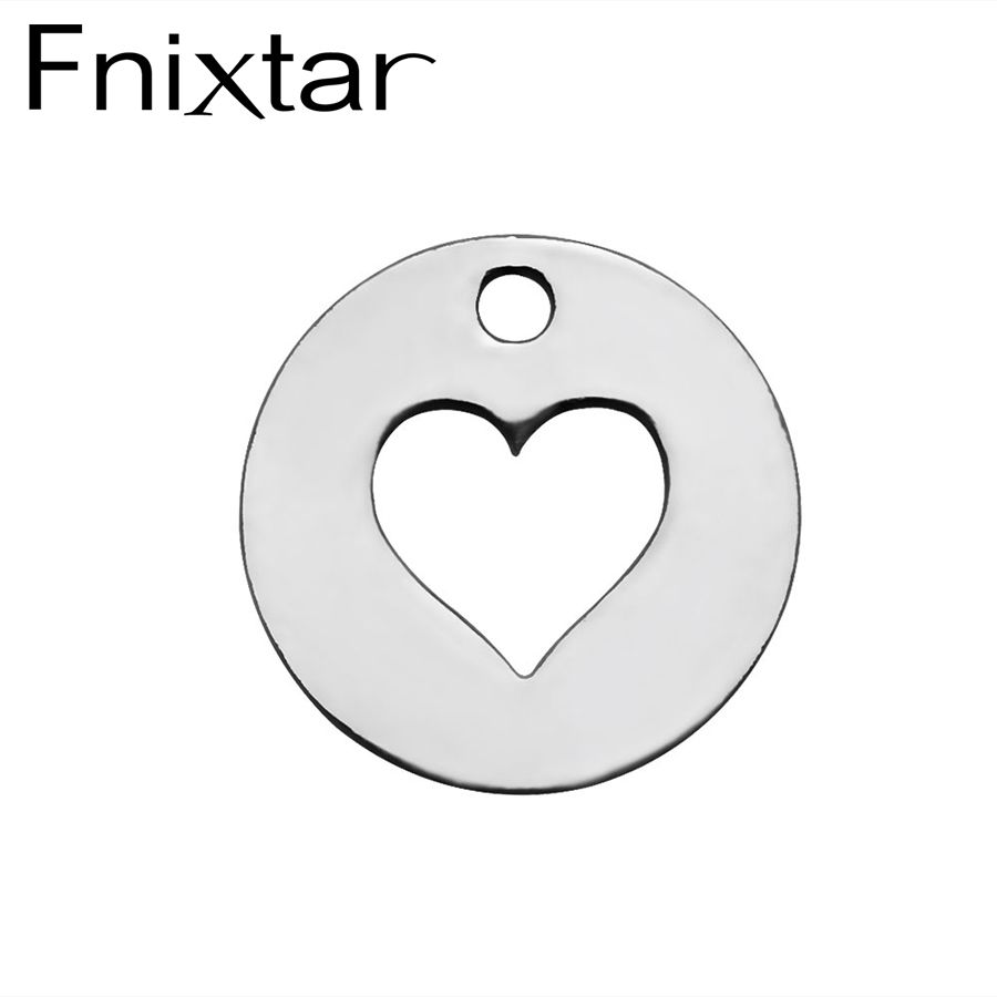 20PcsLot Fnixtar Stainless Steel Round Shape Charm Hollow Heart Charms Pendant For Women Necklace Bracelet DIY Making