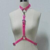 100% Handcrafted Women Girl Halter Choker Top Punk Harness Bondage Neon Pink PVC Bra Punk Gothic Cosplay Suspender Belt Straps
