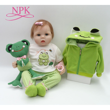 NPK vraie touche 55cm Silicone réaliste Bonecas bébé nouveau né réaliste magnétique sucette bebes reborn poupées bébés jouet
