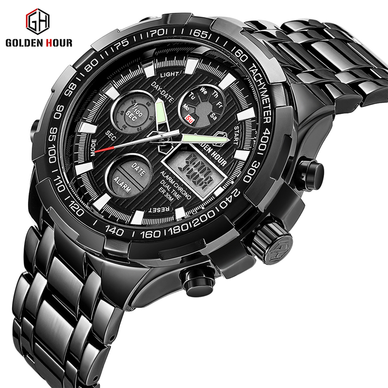 GOLDENHOUR Top Luxury Brand Men's Watches Sport Army Military Watch Men Date Week Display Man Clock Wristwatch Relogio Masculino goldenhour sport double display men wristwatch fashion casual men quartz watch led week display army alloy strap male clock