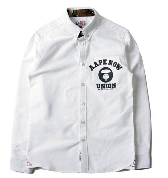 d24c2628 2014 new men's bape aape Pinpoint oxford Fashion high Quality Long Sleeve  Shirt Formal Casual Male Dress Shirt.white/ sky blue