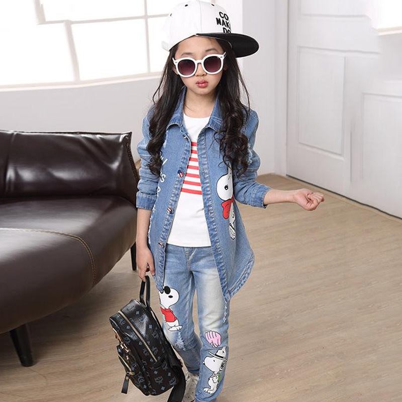 ФОТО 2017 Autumn Winter Kids Clothes Cowboy Suit 3 pcs Girls Outfits Jeans Denim Clothing Children Set 3-13 Years old Girl Clothes