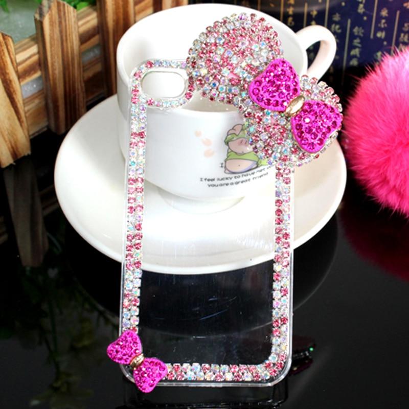 Lyxig 3D-båge knäppt diamantväska Rhinestone Crystal Bling Cover - Reservdelar och tillbehör för mobiltelefoner - Foto 3