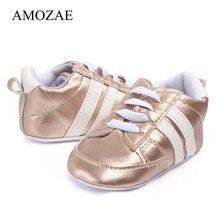 Newborn Baby Boys Girls Shoes Print Two Striped First Walker Spring Soft Soles Infant Toddler Anti-slip Sport Kid Indoor Shoes