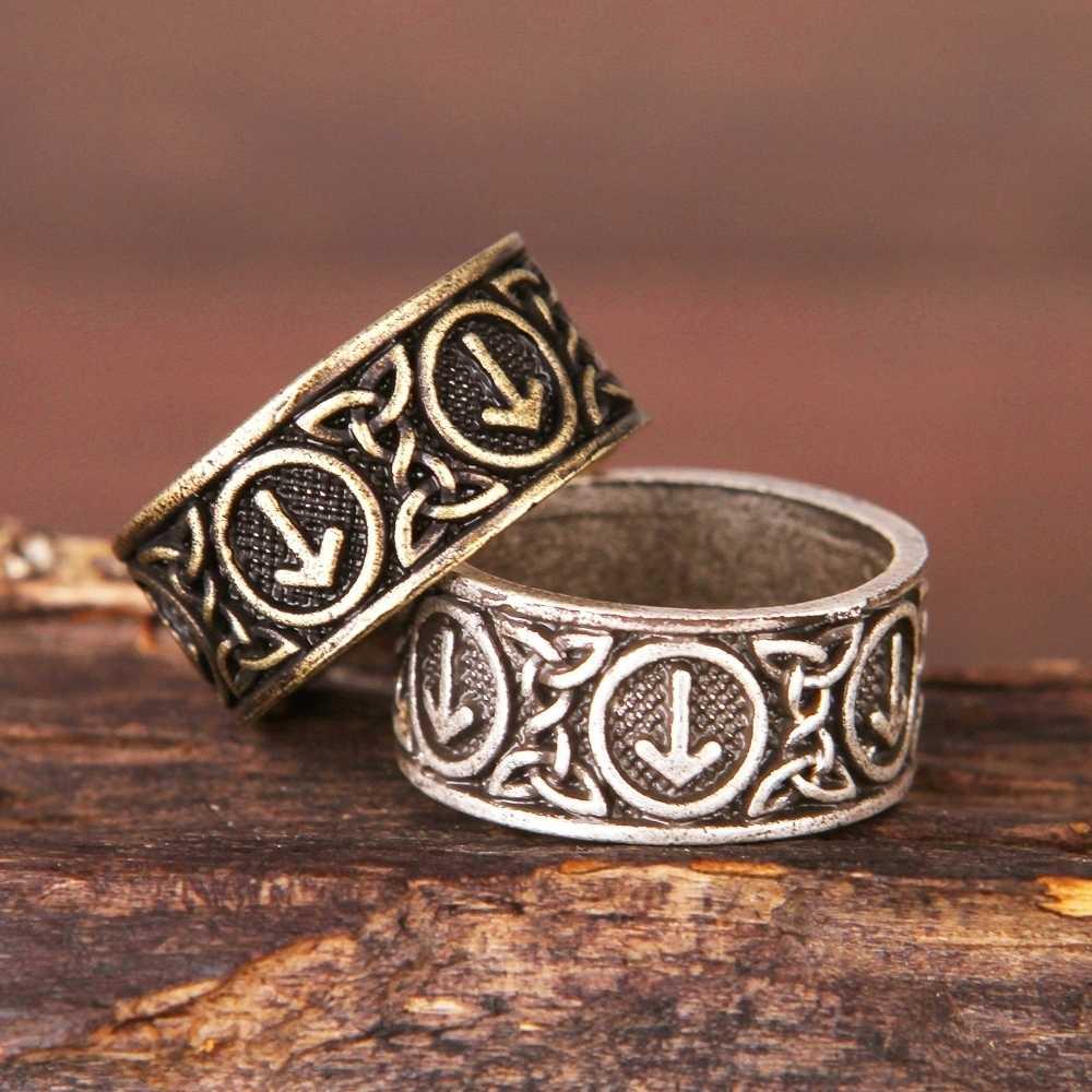 Bắc âu Futhark rune ring pagan Viking Đồ Trang Sức Người Đàn Ông của 1
