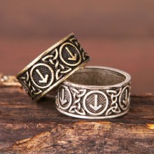 Norse Futhark rune ring pagan Viking Jewelry Men's 1(China)