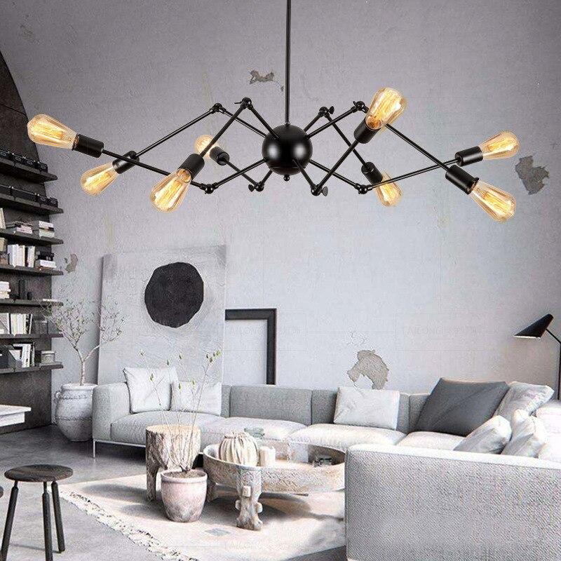 Nordic Creative Spider Chandelier Vintage Rustic Bar Lamps Dining Room Pendant Lamp Sputnik Light Home Edison Lighting Fixtures