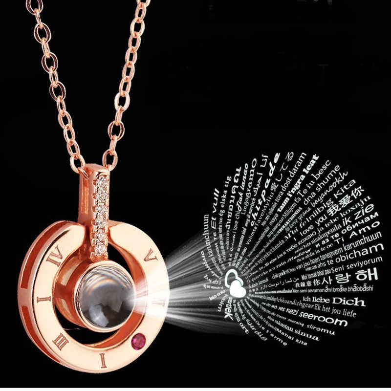 1777bed5b ... Dropshipping Rose Gold 100 Languages I Love You Projection Pendant  Necklace Romantic Jewelry Silver Round Choker ...