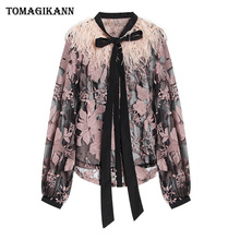 Women Sexy Lace Floral Embroidery Sheer Shirts and Blouse 2019 Korean Feather Patchwork Bow Tie Blouses Tops femininas blusas raw hem floral sheer lace blouse