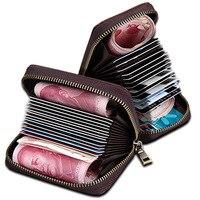 Genuine Leather Women Card Holder Wallets Small Female Pillow Purse Fashion Zipper Credit Card Bag Zipper