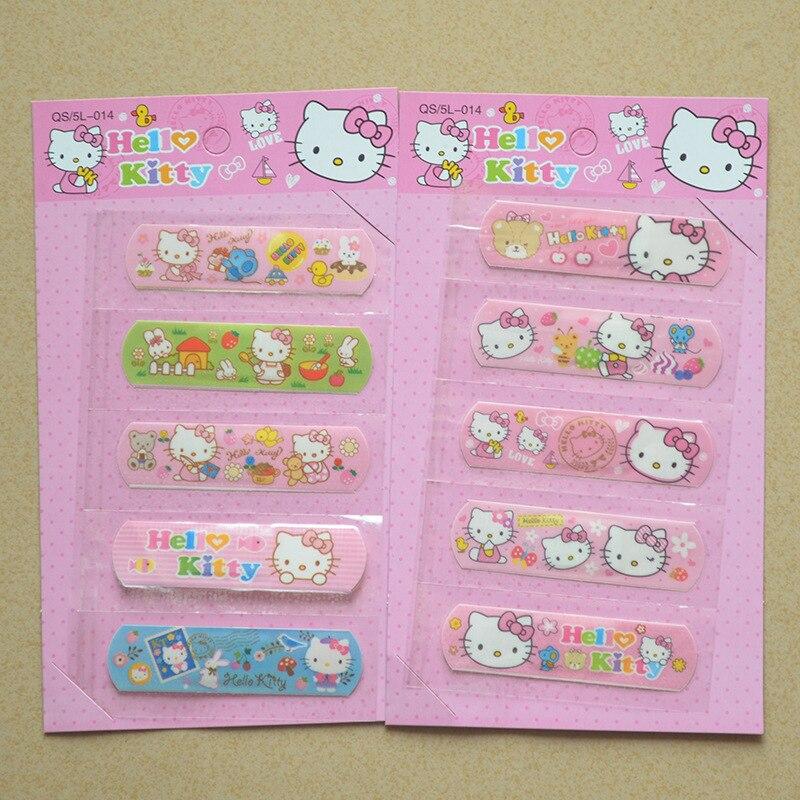 2 Set/10 Pcs Cute Hello Kitty Doraemon Waterproof Band-Aid Bandage Sticker Baby Kids Care First Band Aid Travel Emergency Kit стоимость