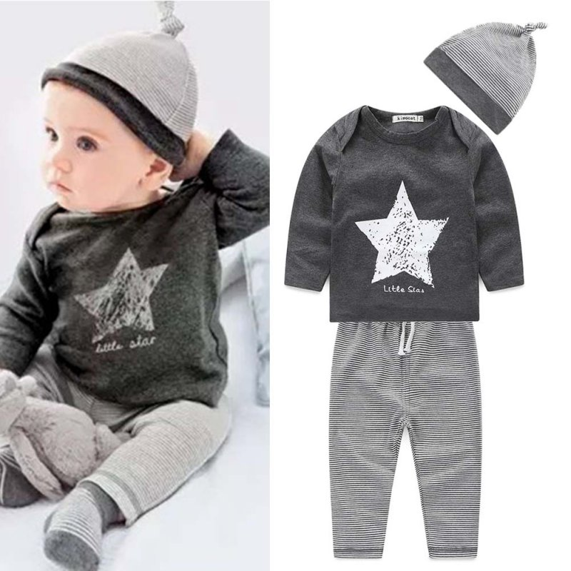 3 pcs Autumn Kids Baby Girls And Boys Clothes Sets Long Sleeve O-neck Baby Outfits Cartoon Shirt + Pants + Cap Outfit S2
