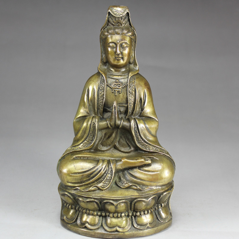 Pure Bronze Hand-made Guanyin, Bronze Guanyin Temple Guanyin Bodhisattva Statue, Decorative Household Accessories.