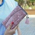 Мода Вязание Женщины кошелек кисточкой женщины бумажник долго застежка женский деньги сумка марка леди кошелек сцепления новый Carteira Feminino