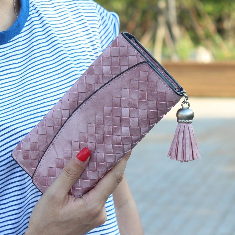 Fashion Knitting Women purse tassel women wallet long clasp female money bag brand lady wallet clutch new Carteira Feminino