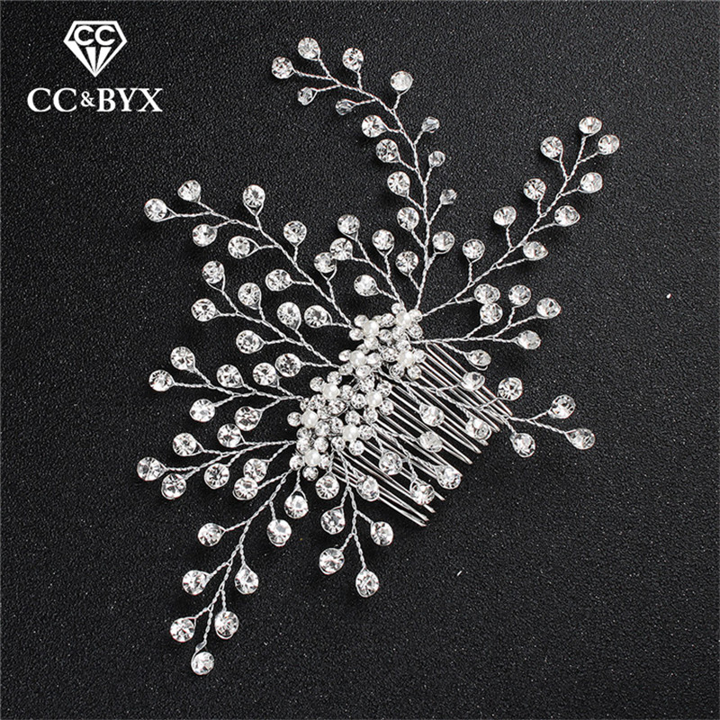 CC Wedding Jewelry Hair Combs Crown Crystal Beads Shine Rhinestone Luxury Engagement Accessories For Bridal Bridesmaids hx264