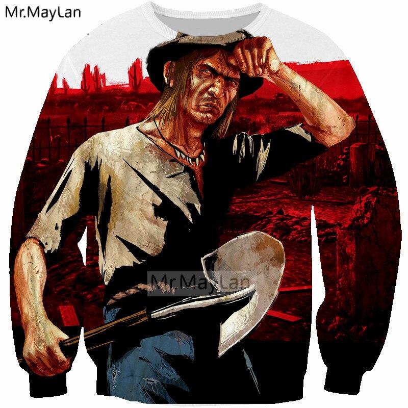 2018 New Game Red Dead Redemption 2 Cool 3D Print Gun Sweatshirts Men Women Streetwear Hip Hop Hoodies Boys Outwear Man Clothes in Hoodies amp Sweatshirts from Men 39 s Clothing