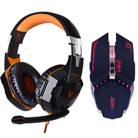 EACH G2000 LED Headphone Deep Bass Stereo Headset With Microphone Professional Gamer Optical USB Wired Mouse
