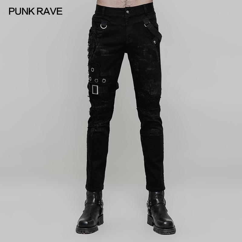 PUNK RAVE Hommes Punk Rock Personnalité De La Mode pantalons Gothique Style décontracté Streetwear Hommes de Moto Cool Pantalon Pantalon