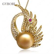 Luxury GVBORI 18K Yellow Gold Natural Southsea Golden Pearl Pendant Phoenix Diamond Pendant  For Women Wedding Love Gift Round
