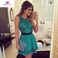 2017 latest women summer clothes for fashion new short sleeved printed bodycon lace party elegant skater woman dress dresses