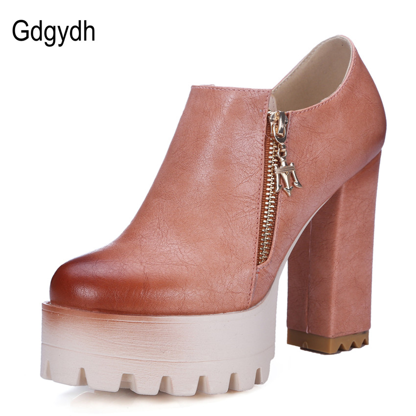 ФОТО Gdgydh Good Quality Spring Autumn Thick Heel Platform Shoes Women 2017 New High-heeled Casual Ladies Dress Shoes Russian Size 42