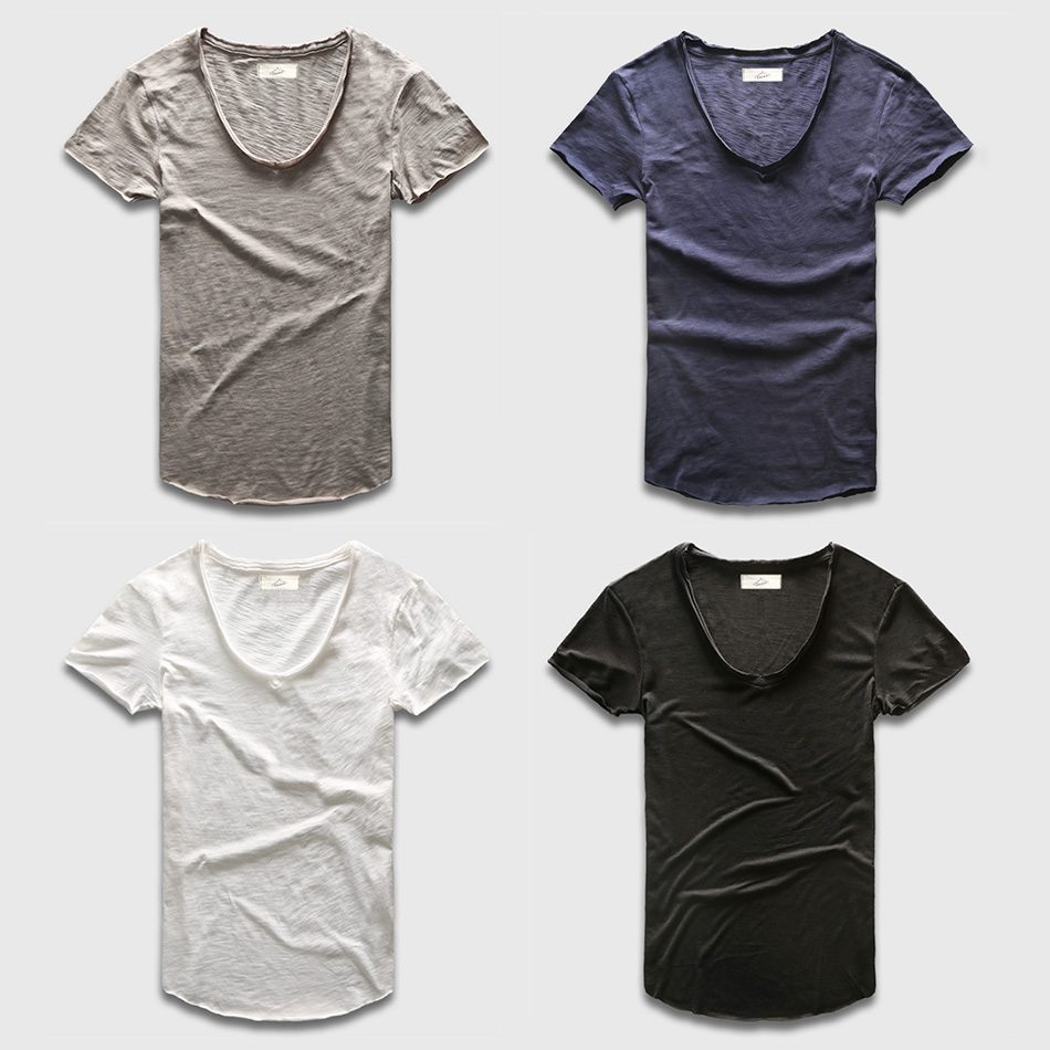 Zecmos Deep V Scoop Neck T-Shirt Män Grundläggande T-shirt T-shirts - Herrkläder - Foto 5