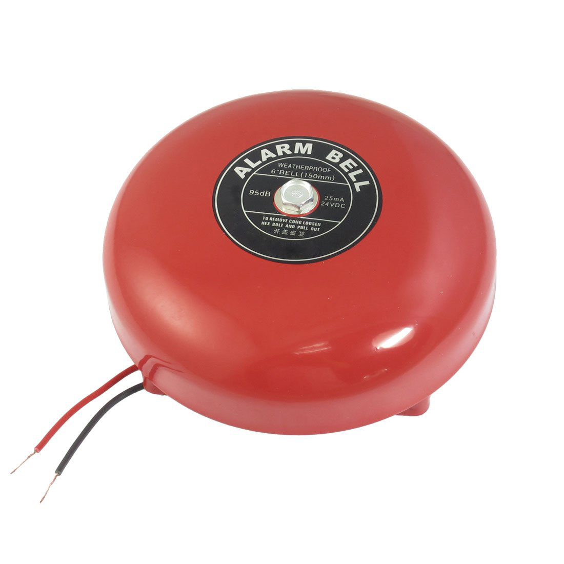 "MOOL DC 24V 25mA 95db 150mm 6"" Diameter Metal Electric Round Alarm Bell Red"