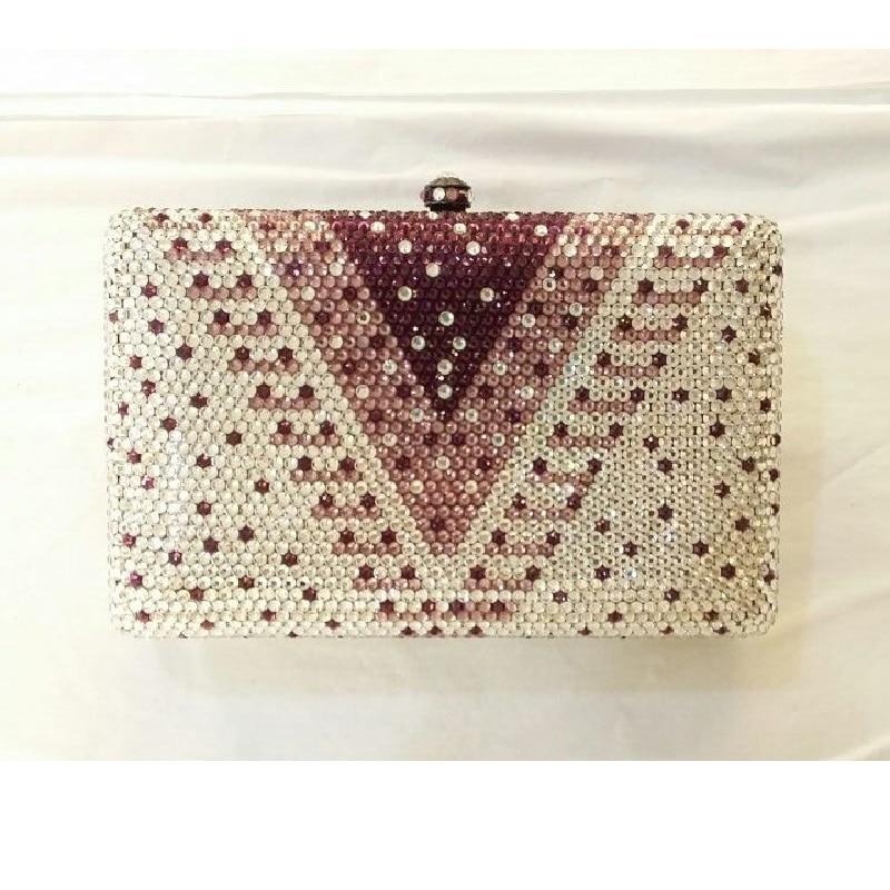 ФОТО 7748V-purple Crystal Lady fashion Bridal Metal Evening purse clutch bag case box handbag