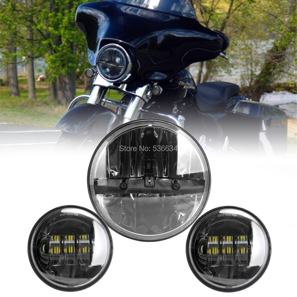 7Inch LED Projector Daymaker Headlight with Matching 4.5Inch LED Passing Lamps Fog Light For Harley Davidson Softail Slim