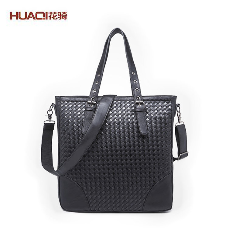 ФОТО Hot Sale Men Big Bags Luxury Brand Men's PU Leather Knitted Black Business Shoulder Bags Casual Laptop Handbags HQ4006