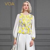 VOA ярко желтые шелковые футболка Для женщин топы Фонари с длинным рукавом Однобортный рубашка печати Vogue пуловер Повседневное футболка B839