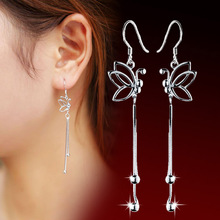 цена 100% 925 sterling silver fashion butterfly ladies`drop earrings jewelry women Anti allergy Christmas gift drop shipping в интернет-магазинах