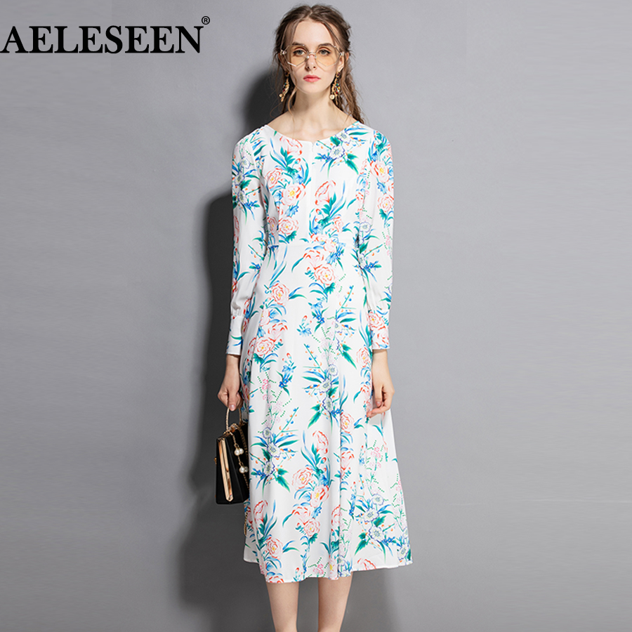 AELESEEN Fashion Runway Dress 2018 European Floral Print Flower Long Sleeve Designer Patchwork XXL Slim Mid Calf Elegant Dress-in Dresses from Women's Clothing    1