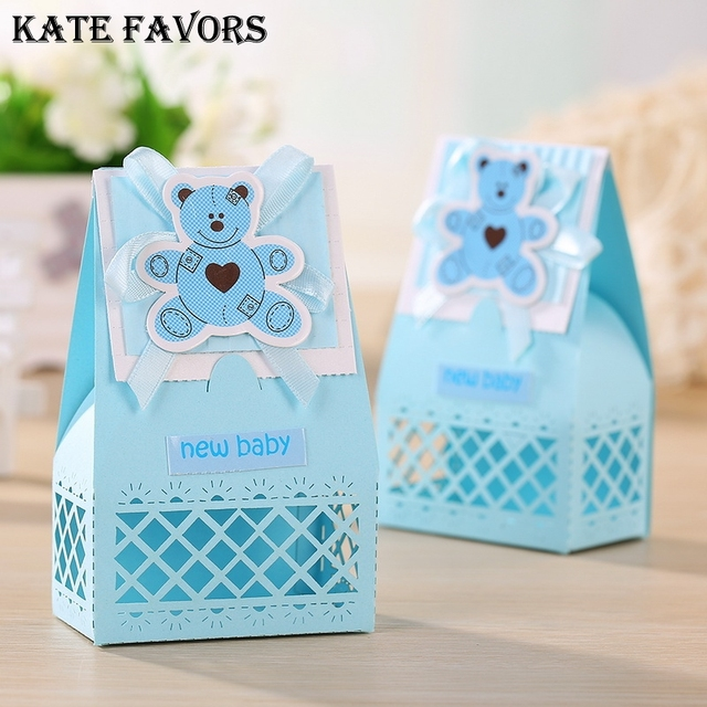 Pink And Blue Cute Baby Favors Boxes Baptism Bombonieres Favors Baby