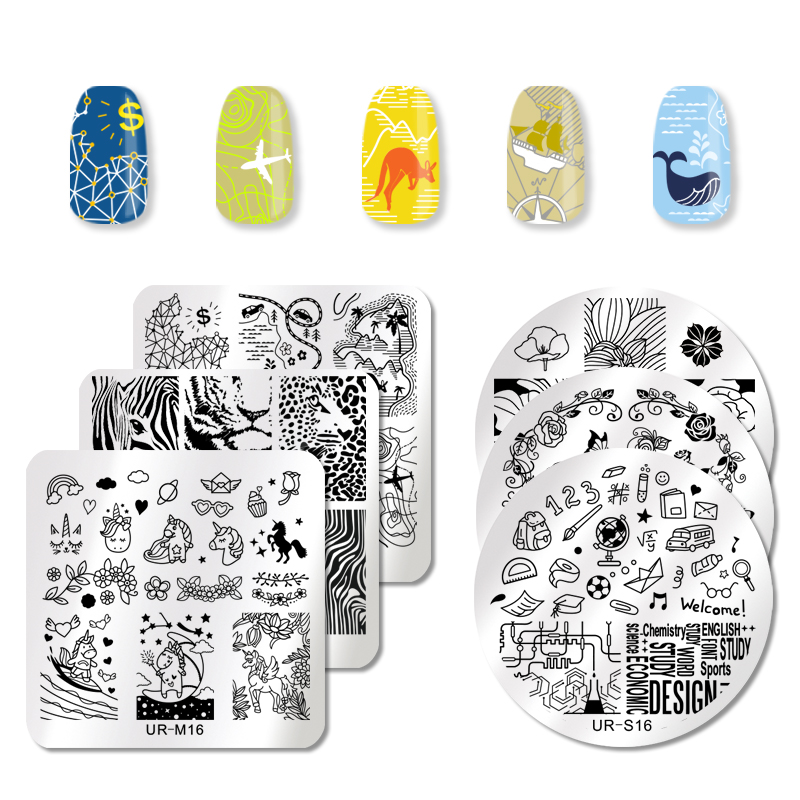 UR SUGAR Nail Stamping Plates Dream Catcher Butterfly Mermaid Flower Nail Art Stamping Image Plates Manicure Template DIY