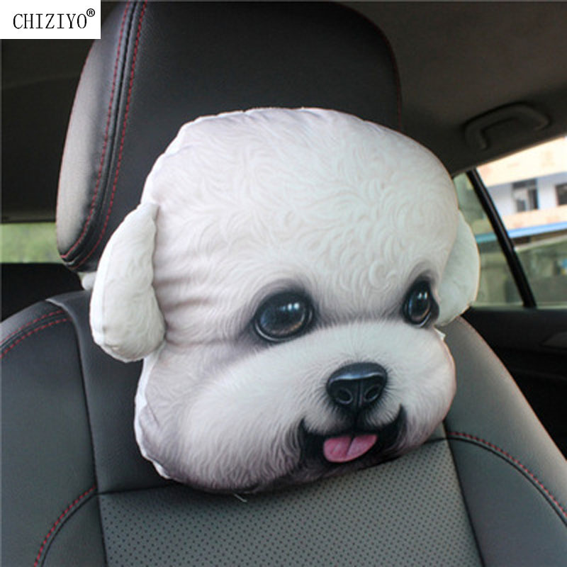 CHIZIYO Newest Lovely 3D Printed Animals Face Car Headrest Pillowcase Neck Auto Travel Rest Supplies Without Filler