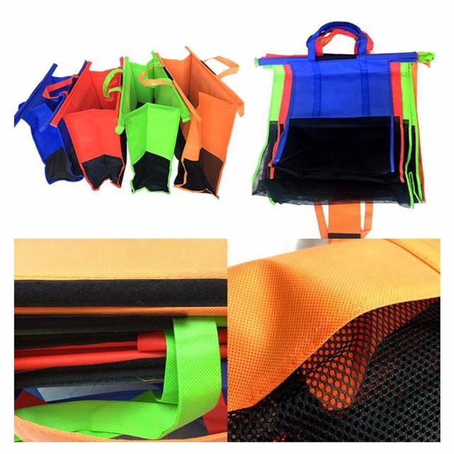 Eco-Friendly Reusable Supermarket Cart Shopping Bag 4 Pcs Set