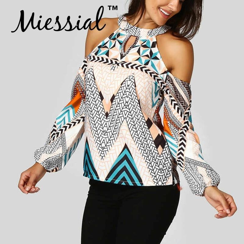 Miessial Print women top and   blouses   sexy top Female bohemian causal elegant   shirt   Summer long sleeve beach holiday   blouse     shirt